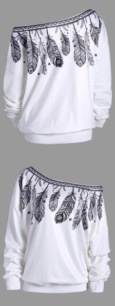 Feather Print Drop Shoulder Skew Neck Sweatshirt