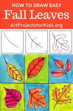 Learn how to draw Fall Leaves with this fun and easy art project for kids. Simple step by step tutorial available. Learn how to draw leaves, and then put them in a grid. A variety of types, sizes and positions will make a pretty fall painting. Fall Leaves Drawing, Leaf Drawing, Draw Leaves, Art Lessons For Kids, Art Lessons Elementary, Art For Kids, Color Art Lessons, Thanksgiving Art Projects, Fall Art Projects