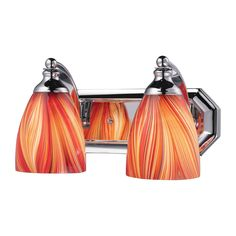 Bath And Spa 2 Light Vanity In Polished Chrome And Multi Glass 570-2C-M
