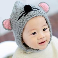 d646a5677de Pink beanie hats with large ears for baby girls cute newborn knit hat