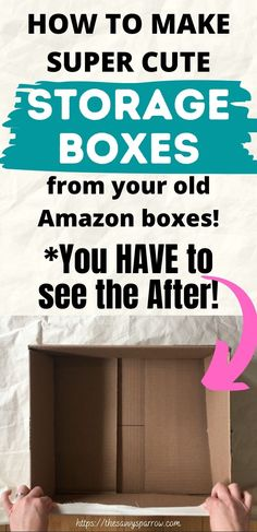Cardboard Box Storage, Cute Storage Boxes, Diy Cardboard Furniture, Cardboard Box Crafts, Fabric Storage Boxes, Decorative Storage Boxes, Fabric Boxes, Cardboard Recycling, Storage Containers