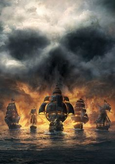 Devils Warships on the horizon story skull clouds
