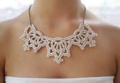 Collar plata, Gargantilla boda, Collar crochet  de DIDIcrochet por DaWanda.com