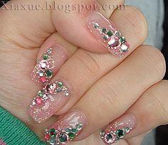 Wedding Ideas - Bridalnail : See more about flower nail designs, nail art designs and nail arts. Fabulous Nails, Gorgeous Nails, Pretty Nails, Rhinestone Nails, Bling Nails, Pink Bling, Hot Nails, Hair And Nails, Holiday Nails