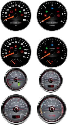 Car dashboard (speedometer, tachometer, fuel) vector