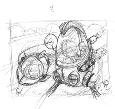 Russ Cox smiling otis studio - Google Search -- concept sketch shows earlier development of a strong structure