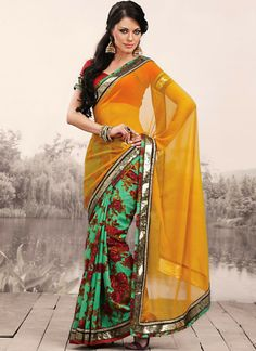 Beautiful floral and sequin saree - Indian fashion