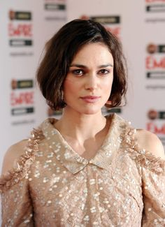 Keira Knightley often straight-irons her short bob, but we love the natural texture of this lived-in, wavy look.