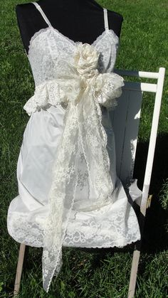 Vintage wedding gown ooak shabby chic country by SummersBreeze