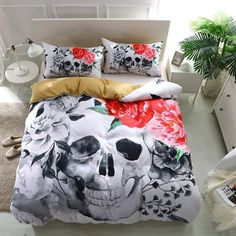 3D Pink Rose Sugar Skull Bedding Set - Skullflow    https://www.skullflow.com/collections/skull-bedding/products/3d-pink-rose-skull-bedding-set