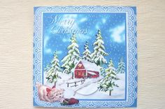 Christmas barn and dog on Craftsuprint designed by Cynthia Berridge - made by Rosina Walker - I printed this image onto a sheet of 130g smooth decoupage paper,then built it up using silicone glue,i then added crystal glitter. - Now available for download!