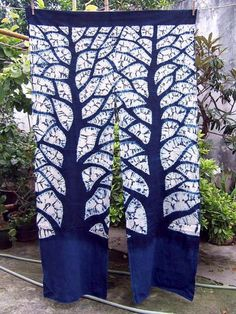 Indigo Tie dyed Curtains  Window Blue Big tree by Thealese on Etsy:
