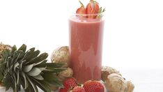 STRAWBERRY GINGER REFRESHER - Good for after tummy trouble.  Add Protein/calorie powder for son with tummy issues.  Ginger is a great tummy soother!