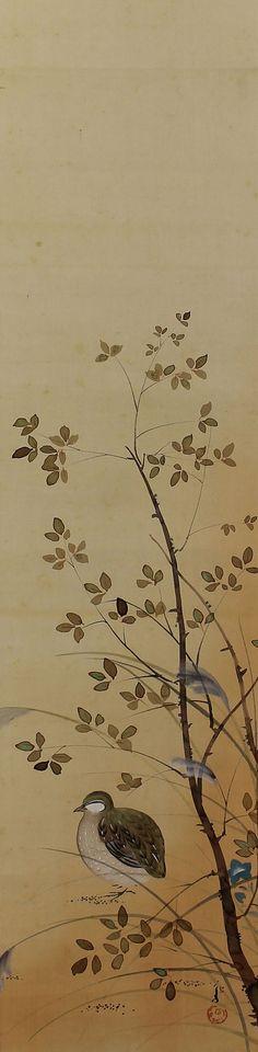 Quail in the seasonal flower. Kawabata Ryushi (1885-1966) Japanese hanging scroll.