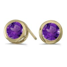 14k Yellow Gold February Birthstone Round Amethyst Bezel Stud Earrings