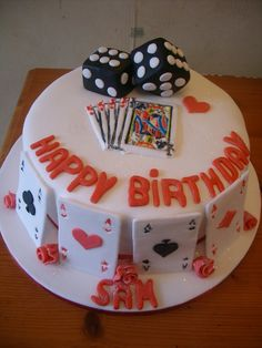 Playing Card Cake | playing cards cake and roses and dice