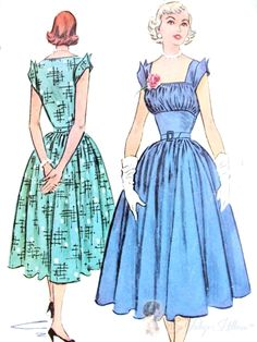 1950s Beautiful Midriff Dress Pattern Gathered Bodice Square Neckline Perky Wing Sleeves Day or Evening McCalls 9379 Bust 30