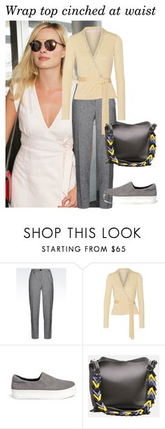 """""""Wrap top cinched at waist"""" by style-institute ❤ liked on Polyvore featuring Armani Jeans, Diane Von Furstenberg and Opening Ceremony"""