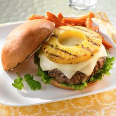 Teriyaki Pork Burgers with Grilled Pineapple