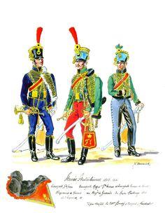 Austria; Emperor's Hussar Regt, Trumpeter, Grand Tenue & Hesse-Hambourg Hussar Regt Trumpet-Major, Grande Tenue & Trumpeter, Tenue de Campagne 1808-15