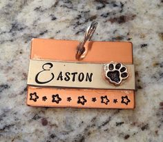 Pet ID tag - dog name tag - personalized and hand stamped  on Etsy, $23.00