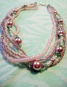 Spring Pink pearl multistrand necklace by StarJewelry on Etsy, $55.00
