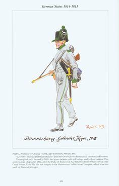 German States: Plate 5. Brunswick: Advance Guard Jäger Battalion, Private, 1815