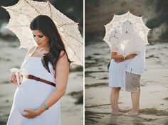 beach maternity pic parasol