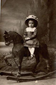 Victorian toddler girl on rocking horse...#vintage #foto #photo                                                                                                                                                                                 More