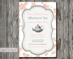 Birthday Tea Party Invitation  Pink Floral Printable by pegsprints, $15.00