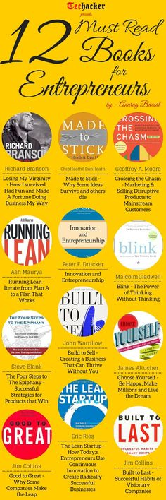 12 Books Entrepreneurs Must Read [Infographics] - Techacker Good Books, Books To Read, My Books, Teen Books, Reading Lists, Book Lists, Business Tips, Online Business, Leadership