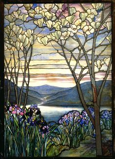 Magnolia and Irises Louis Comfort Tiffany Date: 1908 Style: Art Nouveau (Modern) Series: Tiffany stained glass windows Tiffany Glass, Tiffany Stained Glass, Stained Glass Art, Stained Glass Windows, Tiffany Kunst, Tiffany Art, Verre Design, Glass Design, Art Nouveau