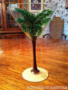Hand-painted palm tree martini glasses