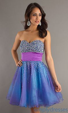 Short Strapless Beaded Party Dress by Dave and Johnny at SimplyDresses.com