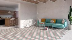 This is an amazing covered open space with a mint sofa on the far end and a large tiled surface that stretches indoors with a diamond pattern tiles in teal and mud. Image: WOW Design. Pink Tiles, White Tiles, Glazed Ceramic Tile, Porcelain Tile, Mint Living Rooms, Buy Tile, Floors And More, Tile Installation, Decorative Tile