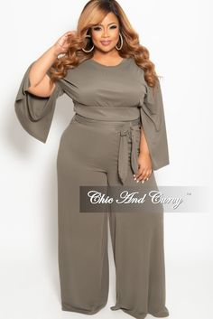 5b23a814eb New Plus Size 2-Piece Slit Sleeves Top and Pants with Tie Set in Olive