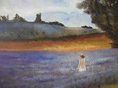 THE LAVENDER FARM, flowers, purple, orange, large, girl, long hair, beautiful, artist signed, New Zealand art, gift for her, wedding gift by KareNZGallery on Etsy