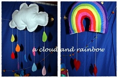 a cloud and a rainbow.. party decs, now room decorations.