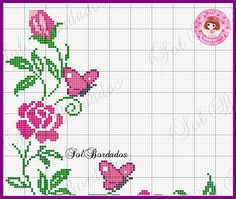 Bom dia com muita alegri a !!!! Quero agradecer a todas que me vis itara m e deixa ram seus recadinhos, a s a migas de terras distantes, sej... Butterfly Cross Stitch, Cross Stitch Rose, Cross Stitch Flowers, Cross Stitch Charts, Cross Stitch Embroidery, Cross Stitch Patterns, Bead Crochet, Filet Crochet, Beading Patterns