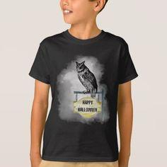 #Halloween Owl and Fog T-Shirt\ T-Shirt - #Halloween #happyhalloween #festival #party #holiday