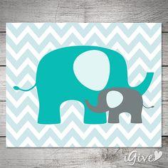 Elephants Nursery Print