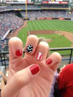 My Cincinnati Reds baseball nails :)