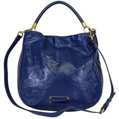 Pre-owned Marc by Marc Jacobs Blue Patent Leather Bag (665 BRL) ❤ liked on Polyvore featuring bags, handbags, shoulder bags, blue, patent handbags, hobo shoulder bags, shoulder strap purses, blue patent leather handbag and marc by marc jacobs purse