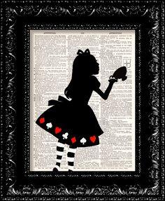 Alice In Wonderland Tea Cup - Vintage Dictionary Print
