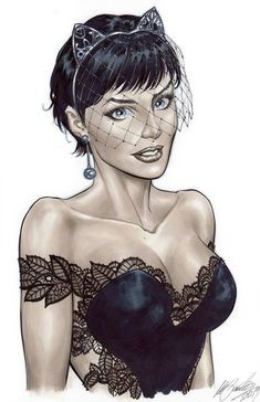 Selina Kyle (Catwoman) bride version by Marco Santucci Catwoman Cosplay, Batman Und Catwoman, Batman And Batgirl, Batman Art, Gotham Batman, Batman Robin, Comic Book Characters, Comic Character, Comic Books Art