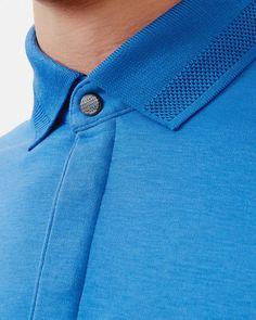 Flat knit collar cotton polo shirt - Blue Tops & T-shirts Ted Baker UK Polo Shirt Design, Polo Design, Polo Shirt Style, Mens Polo T Shirts, Polo Tees, Men's Polo, Camisa Polo, Ted Baker, Polo Outfit