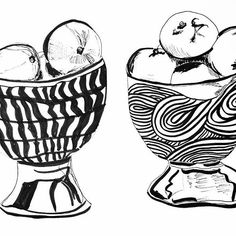 #100dayproject #100daysofdrawing #day92 #drawingaday #illustration #dailysketch #inkonpaper #anthropologie  #ruanhoffmann  I am crushing on these beautiful bowls made by Ruan Hoffmann that I picked up today. They are beauties.