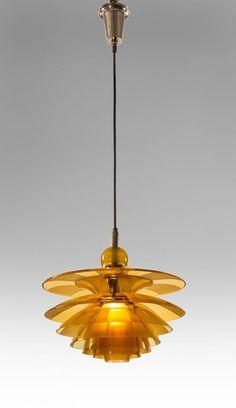 Poul Henningsen, Rare Danish Amber Glass Septima 4 Chandelier 2