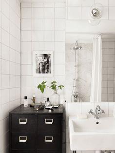 Black and white bathroom design - with vintage style storage Bathroom Inspo, Laundry In Bathroom, Bathroom Styling, Bathroom Storage, Bathroom Inspiration, Small Bathroom, Interior Inspiration, Tile Bathrooms, Bathroom Black