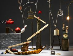 Nice editorial style shot of Rube Goldberg machine